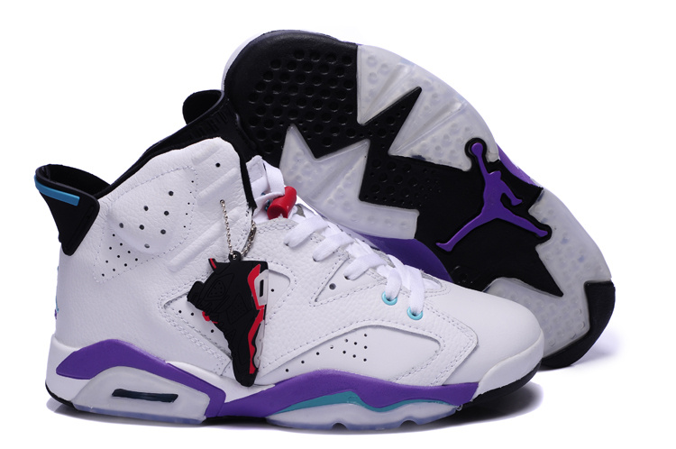 Newest Jordans 6 Original White Purple