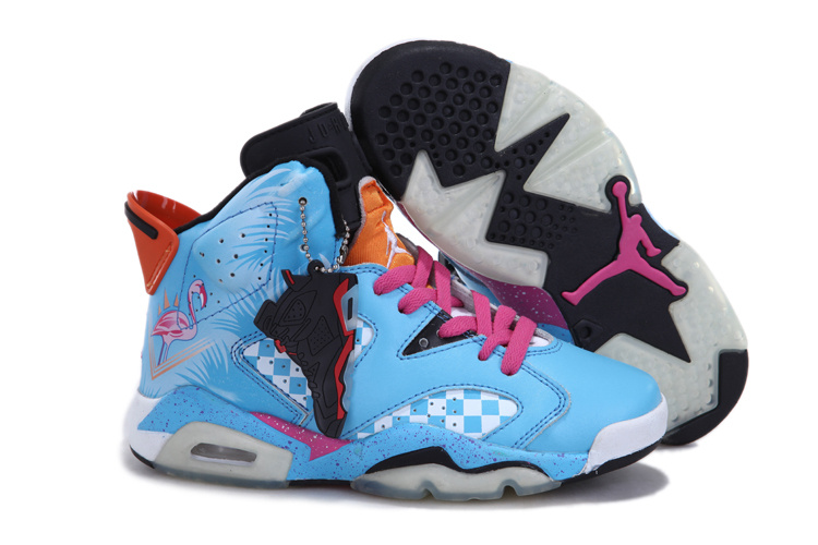 Newest Jordans 6 Retro Blue Pink White For Women_06