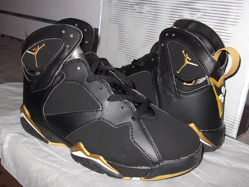 Newest Jordans 7 Black Gold Retro