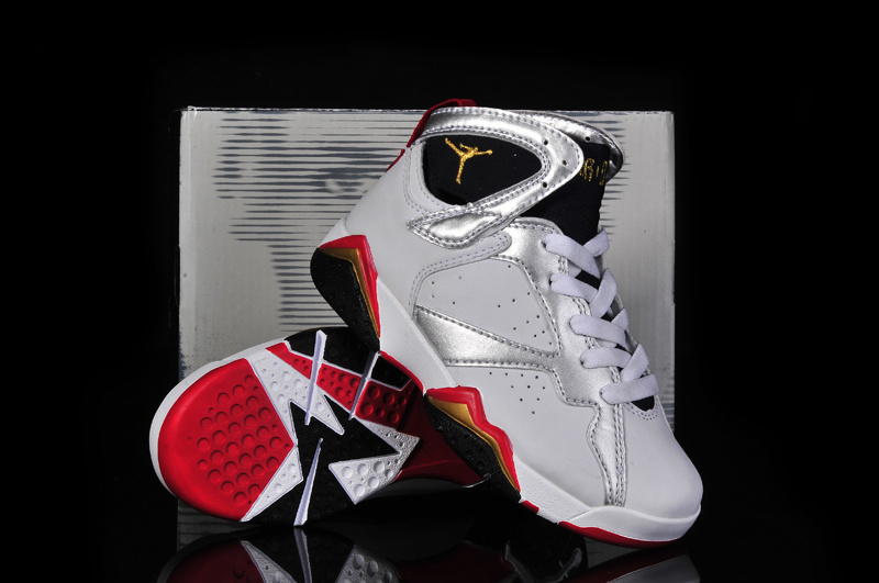 Newest Jordans 7 Classic White Silver Red Black Kid_07