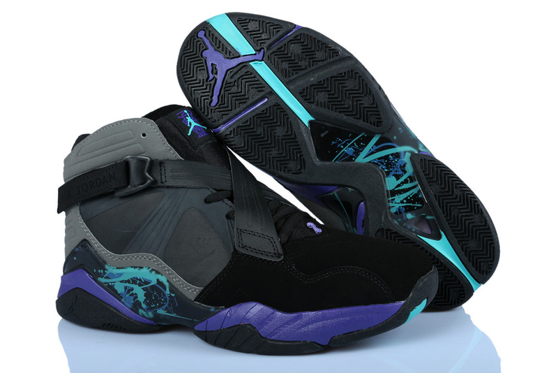 Newest Jordans 8 Classic Black Grey Purple