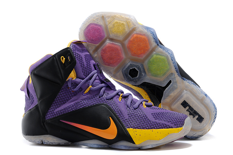 Newest Lebron James 12 Nike Purple Black Yellow Basketball Shoes