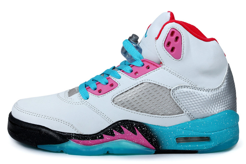 Newest Miami Air Jordan 5 Retro White Blue Pink