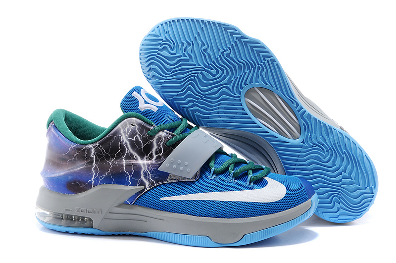 Newest Nike KD 7 Thunder Blue Grey White Basketball Shoes