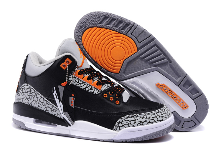 Newest Retro Jordans 3 Black White Cement Orange_03