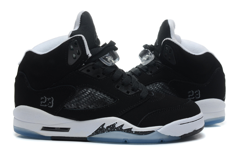 Newest Top Layer Leather Jordans 5 Retro Black White