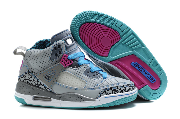 Newest Womens And Girls Jordan 3.5 Classic Grey Green Pink_05