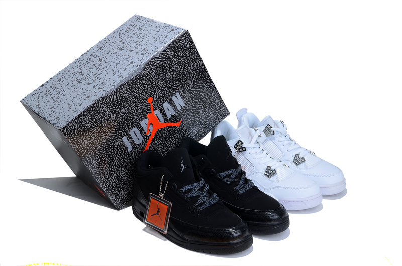 Newly Limited Combine Retro Black Air Jordans 3 And White Jordans 4