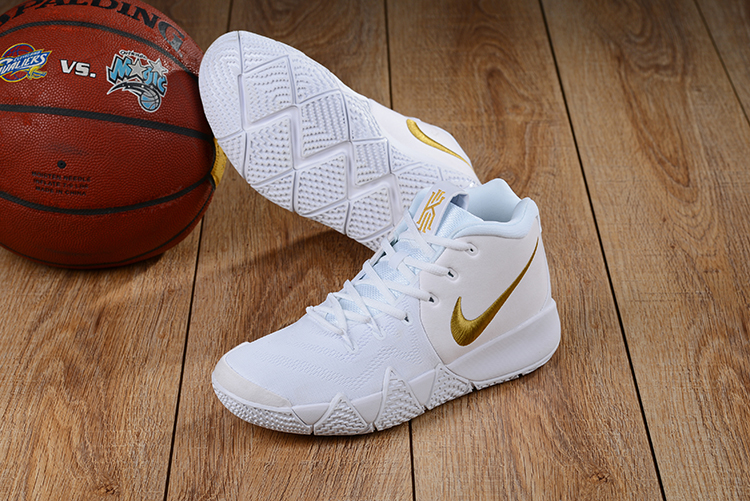 2018 Nike Kyrie 4 White Gloden Shoes For Sale