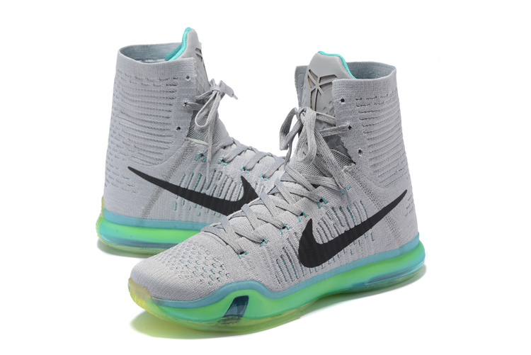Nike Kobe 10 High Grey Black Basketball Shoes