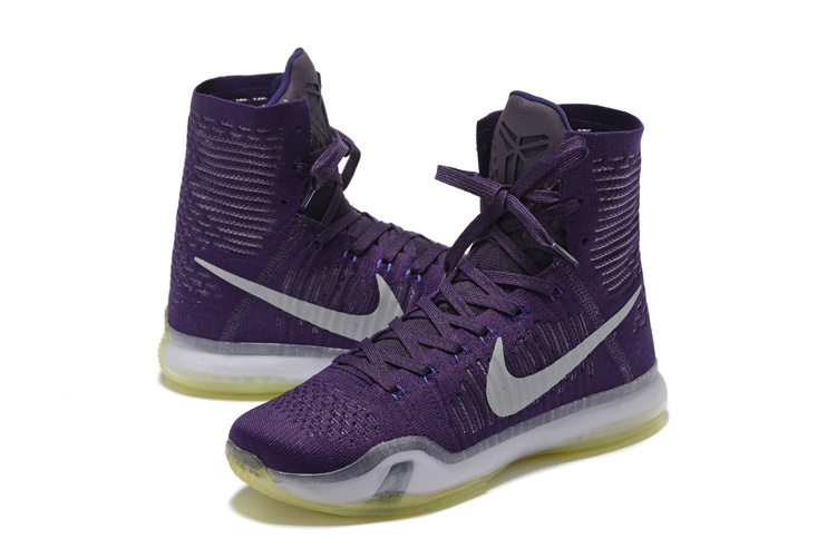 Nike Kobe 10 High Purple Grey Basketball Shoes