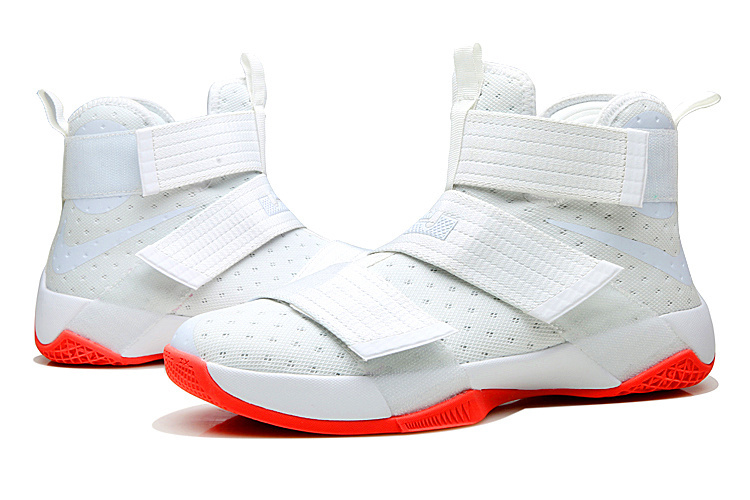 Lebron Solider 10 White Fluorescent red Basketball Shoes