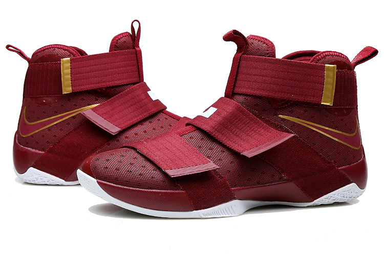 Lebron Solider 10 Wine Red Basketball Shoes