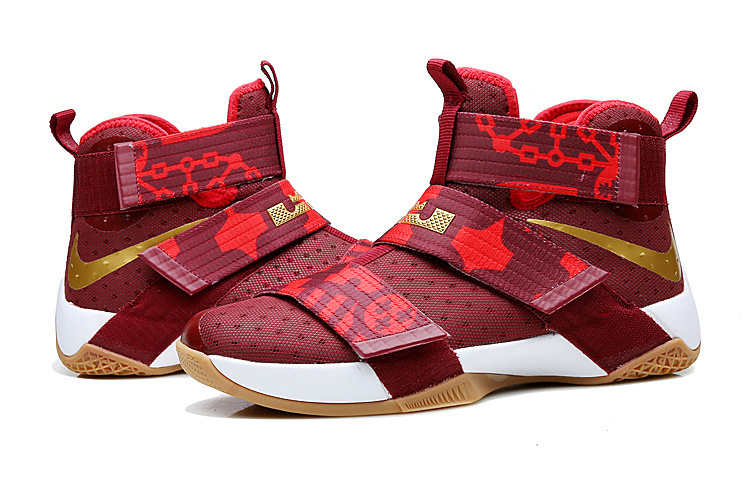 Lebron Solider 10 Wine Red Chinese Red Basketball Shoes