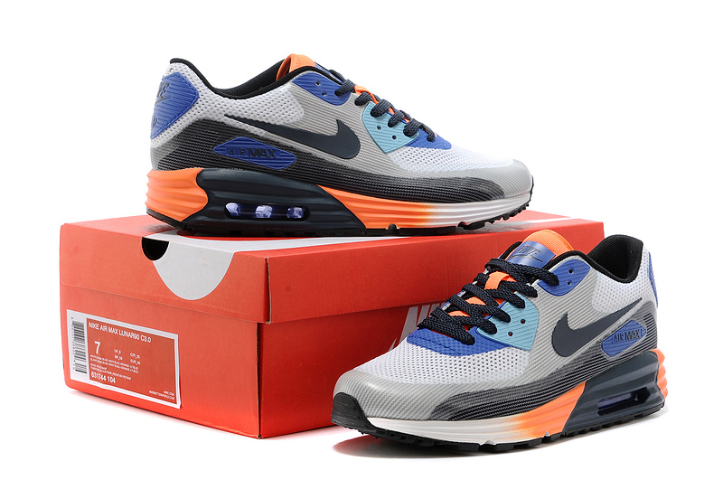 Nike 25th Anniversary Air Max 90 Grey Blue Black White Men Running Shoes