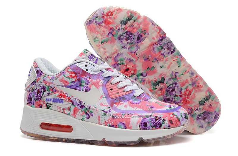 Nike 90 Air Max Colorful Rose Women Running Shoes