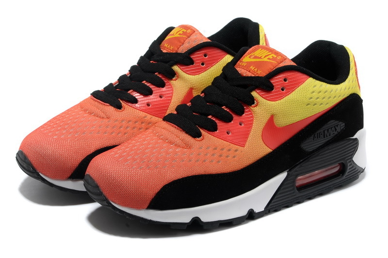 Nike Air Max 90 Premium Pink Black Yellow Women Runnings Shoes