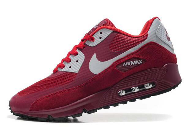 Nike Air Max 90 Premium Red White Women Runnings Shoes