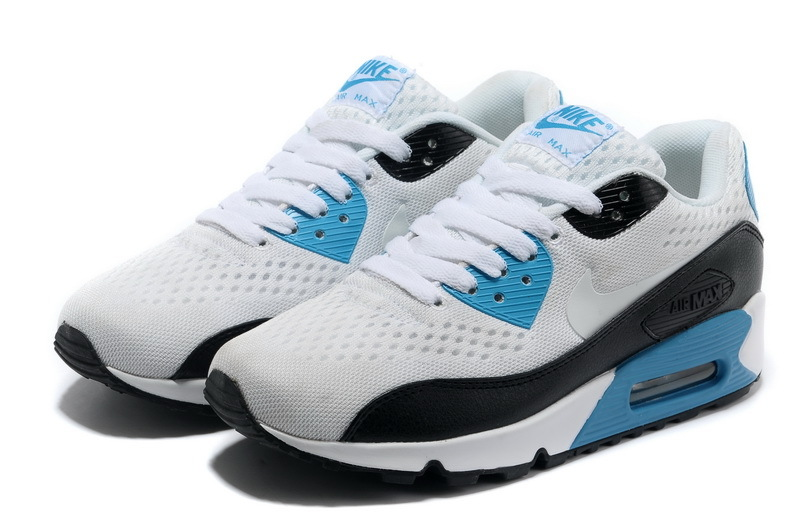 Nike Air Max 90 Premium White Black Blue Women Runnings Shoes