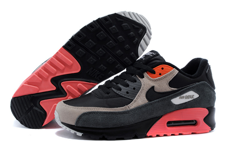 Nike Air Max 90 Black Red Grey Men Running Shoes