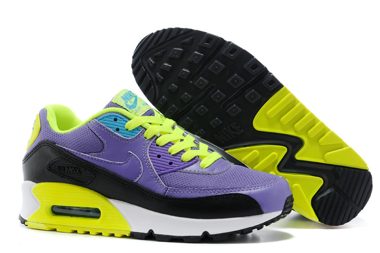 Nike Air Max 90 Women Blue Yellow Black Running Shoes