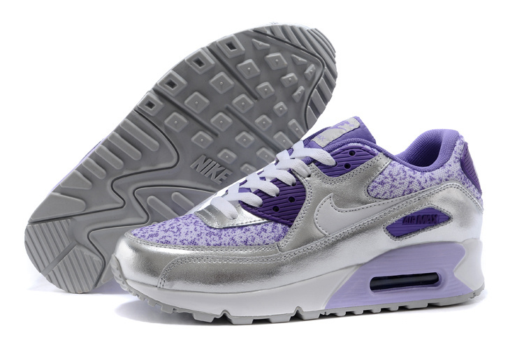 Nike Air Max 90 Women Sliver Purple Running Shoes