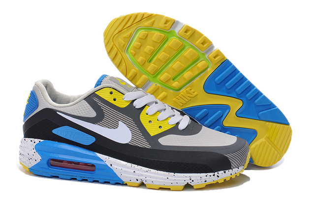 Nike Air Max 90 25th Black blue White Yellow Men Running Shoes