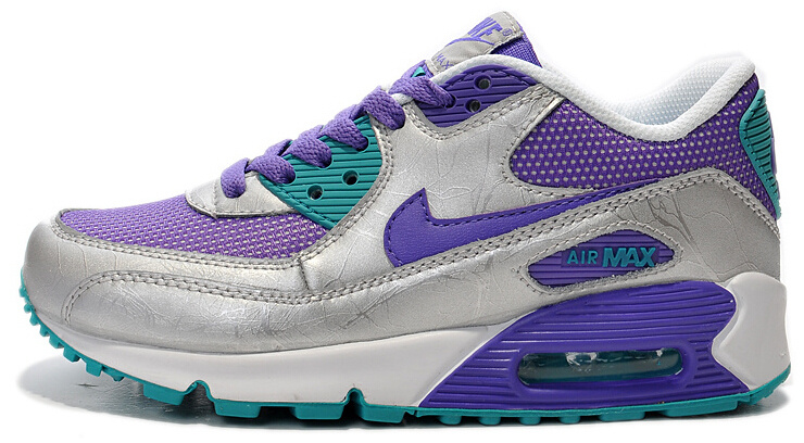 Nike Air Max 90 Purple Grey Blue Women Running Shoes