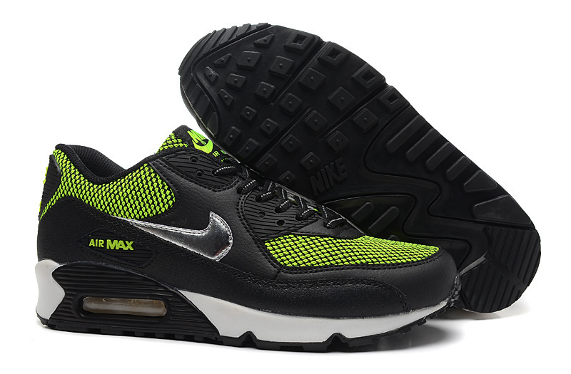 Nike Air Max 90s Women Black Green White Running Shoes
