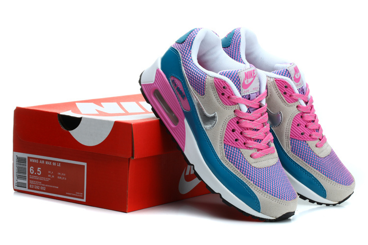 Nike Air Max 90 Women Pink Blue White Running Shoes