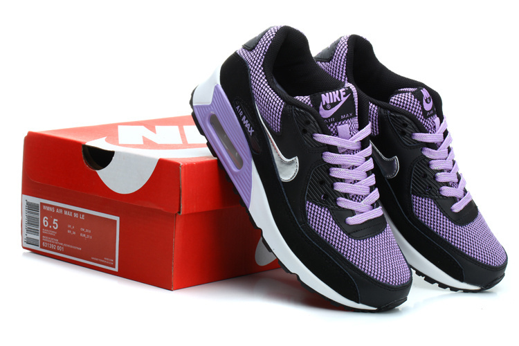 Nike Air Max 90s Women Purple Black Running Shoes