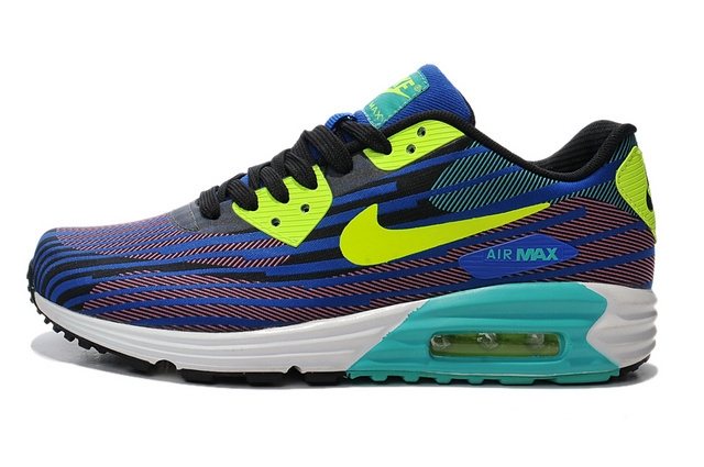 Nike Air Max Lunar 90 Jacquard Black Green Blue Men Running Shoes