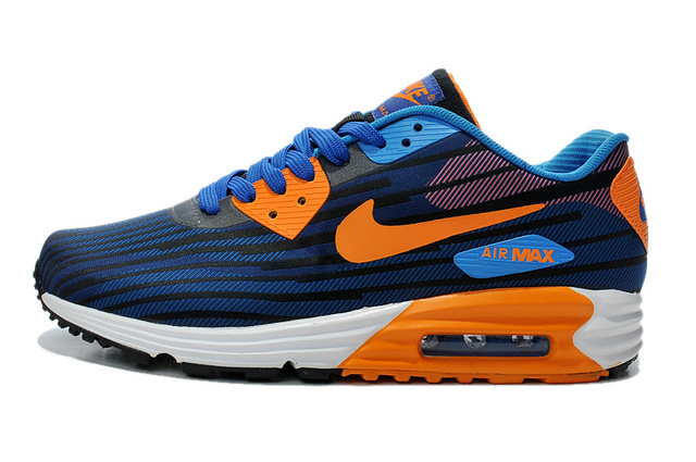 Nike Air Max Lunar 90 Jacquard Black Orange Blue Men Running Shoes