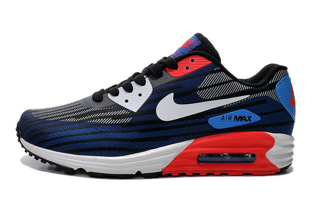 Nike Air Max Lunar 90 Jacquard Black White Red Men Running Shoes