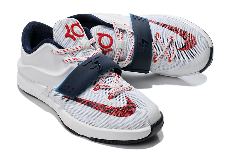 Nike KD 7 Classic White Red Blue For Kids Basketball Shoes