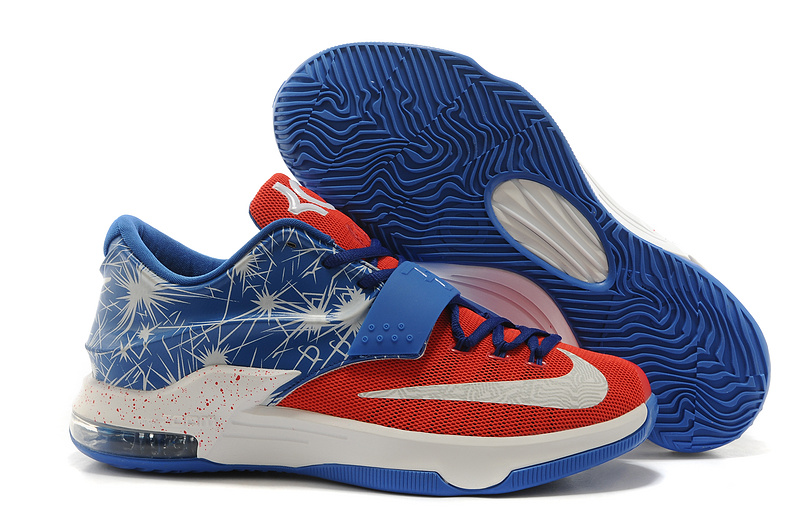 Nike KD 7 Latest Blue Red White Basketball Shoes
