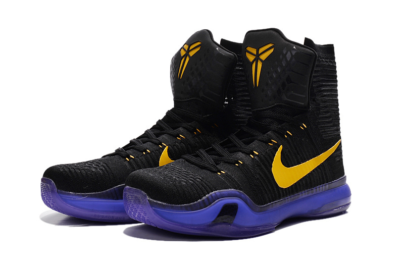 2016 Nike Kobe 10 High Black Purple Yellow Sneaker