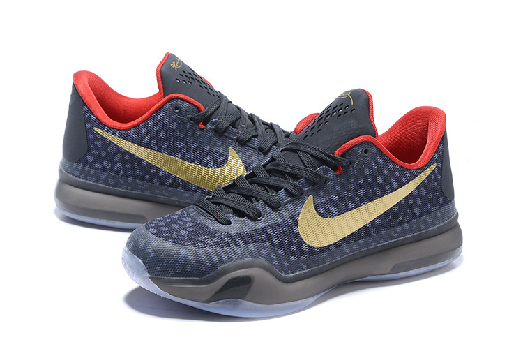 New Nike Kobe 10 Stone Stripe Dark Blue Gold Sneaker