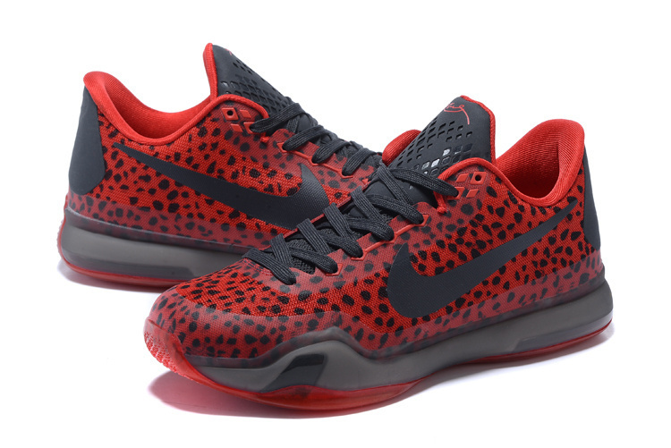 New Nike Kobe 10 Stone Stripe Red Black Sneaker