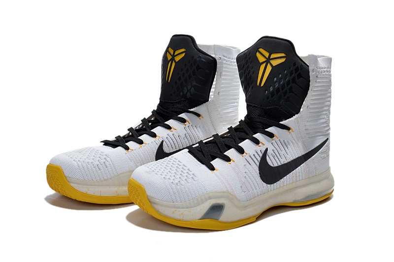 New Nike Kobe 10 Elite High White Black Yellow Sneaker