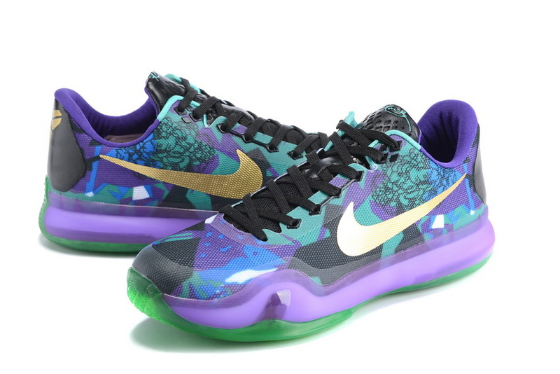 New Nike Kobe 10 Elite Purple Black Green Gold Sneaker