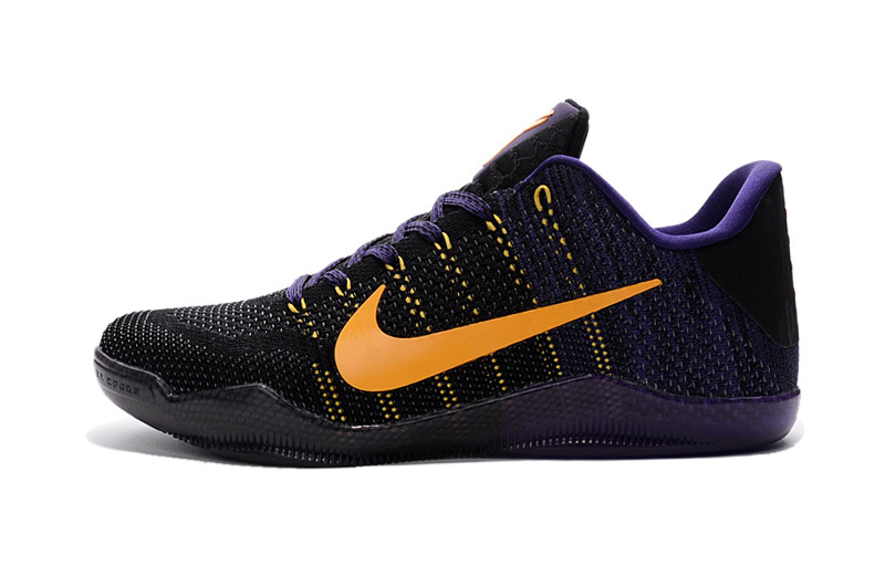 New Nike Kobe 11 Elite Knit Black Purple Yellow Sneaker