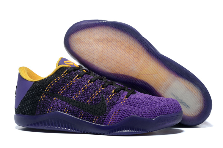 New Nike Kobe Bryant 11 Knit Purple Black Yellow Sneaker