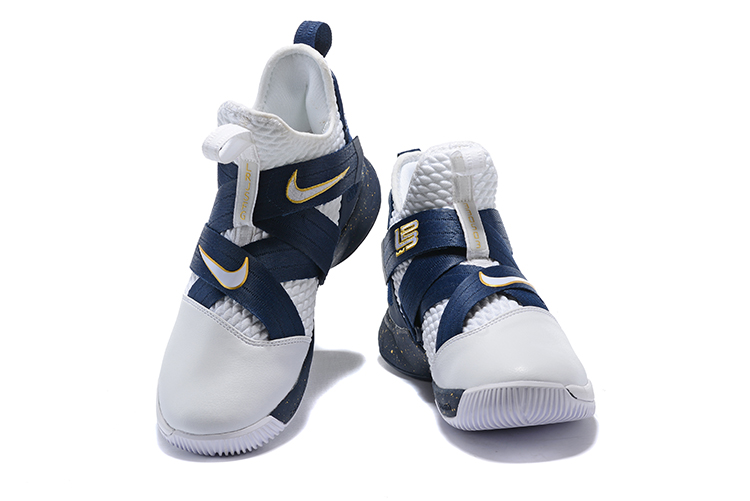 2018 Lebron 12 Dark Blue White Gloden Shoes For Sale