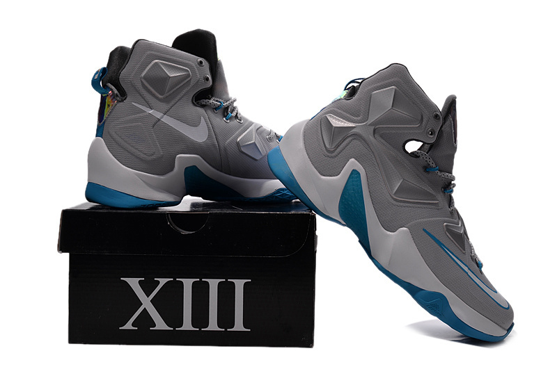Nike Lebron James 13 Grey Blue Basketball Sneaker For Sale