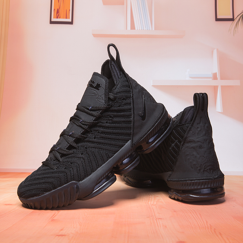 New Lebron 16 All Black Swoosh Basketball Shoes For Sale