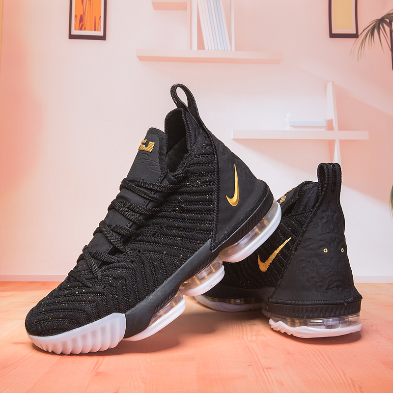 New Lebron 16 Black Gloden Basketball Shoes For Sale