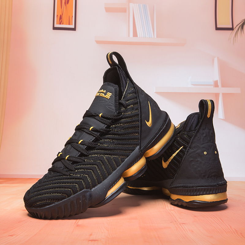 New Lebron 16 Black Gloden Swoosh Basketball Shoes For Sale