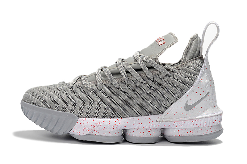 New Lebron 16 Full Palm Air Cushion Grey White Shoes For Sale