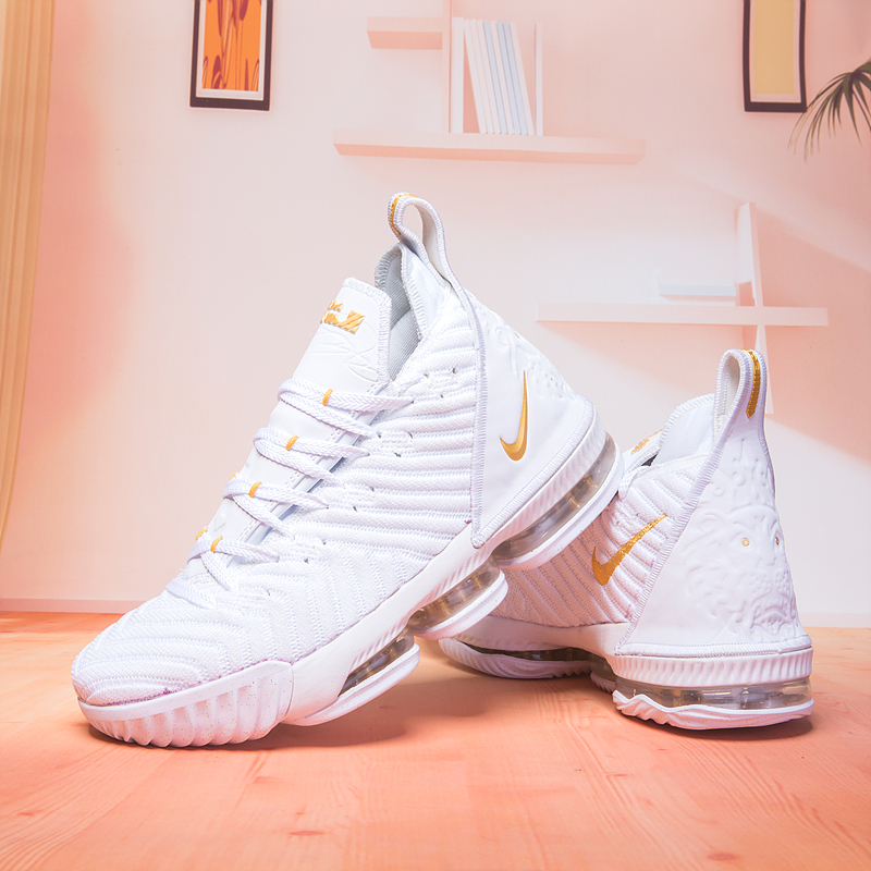 Original Lebron 16 White Gloden Basketball Shoes For Sale